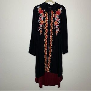 Andree Embroidered Button Down Velvet Shirt Dress